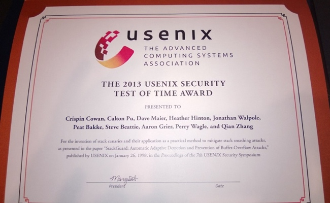 USENIX Security Test of Time 2013